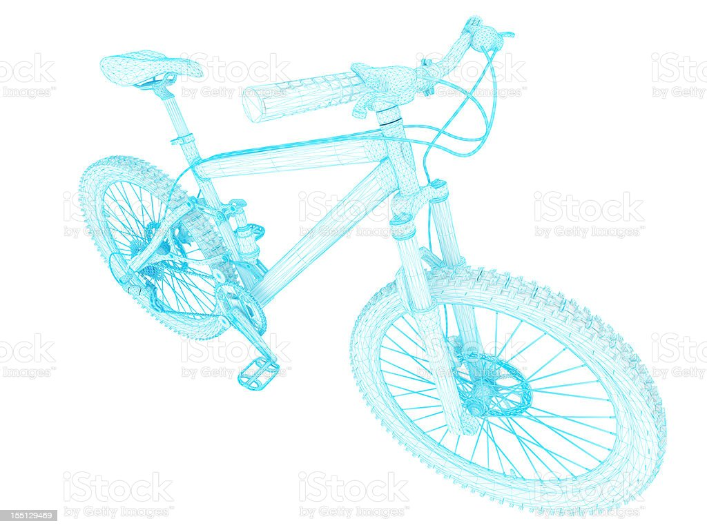 3D Sketch architecture Mountain Bicycle 3 royalty-free stock photo