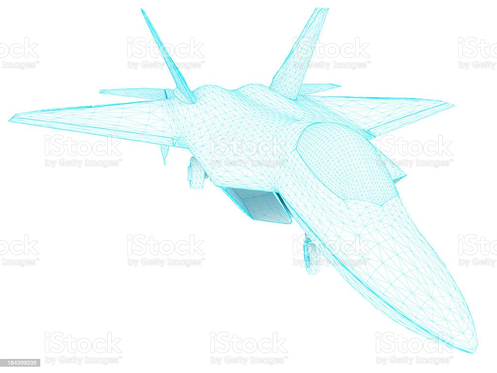 3D Sketch architecture US Air Force F-22 Raptor 2 stock photo