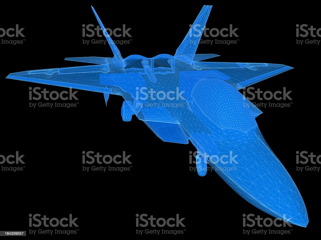 3D Sketch architecture US Air Force F-22 Raptor 3 stock photo
