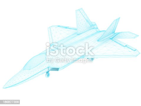 istock 3D Sketch architecture US Air Force F-22 Raptor 186827356