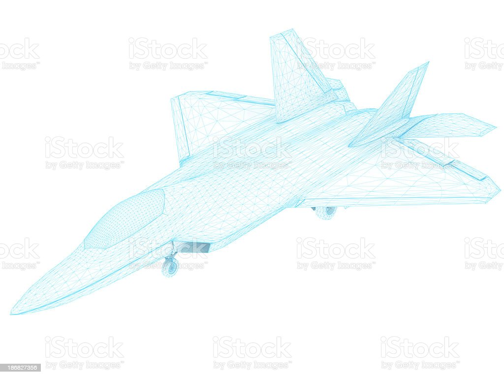 3D Sketch architecture US Air Force F-22 Raptor stock photo