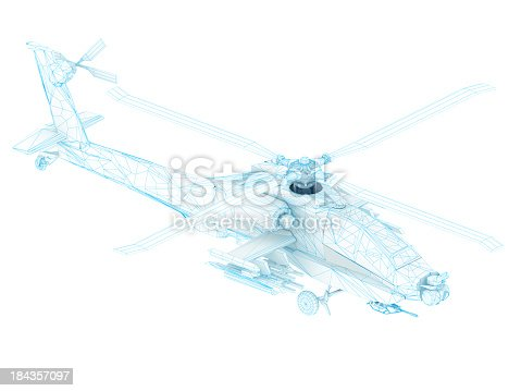 istock 3D Sketch architecture US Army AH-64 Apache attack helicopter 3 184357097