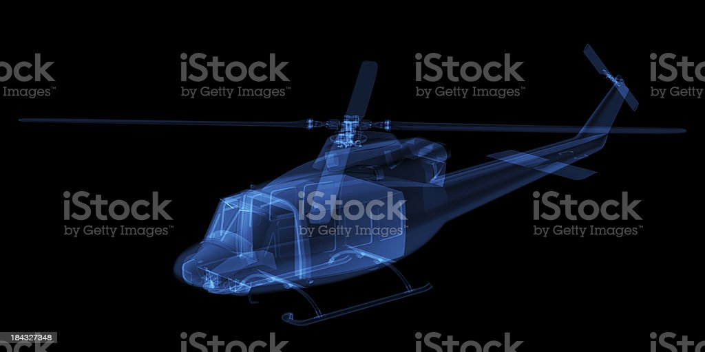 3D Sketch architecture X-ray Image  Helicopter 2 stock photo