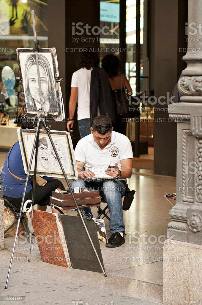 Sketch artist at work royalty-free stock photo