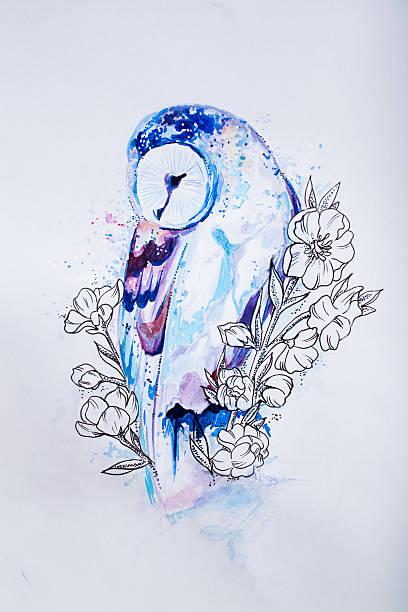 sketch blue owl in colors on white background. - eule zeichnung stock-fotos und bilder