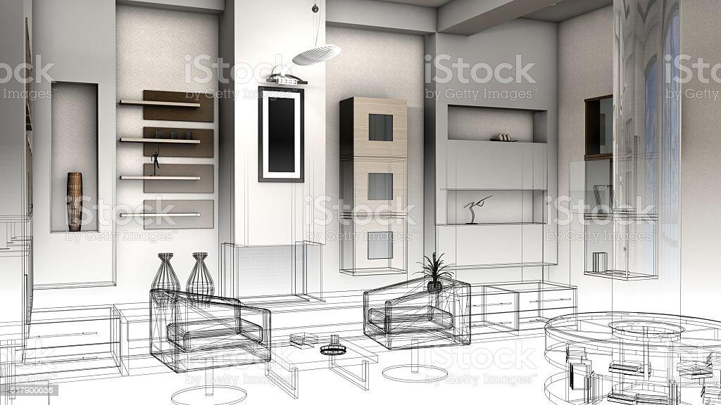 Fotografía de Boceto Diseño De Una Sala De Estar 3d Render Bastidor ...