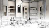 Sketch design of a living room, 3d wire frame render.