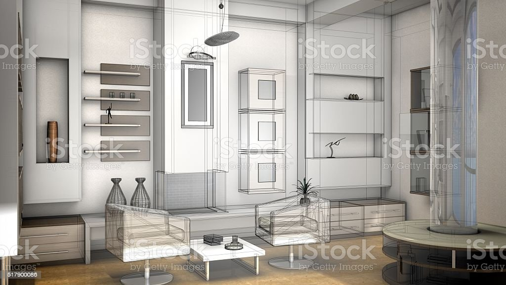 Sketch design of a living room, 3d wire frame render stock photo