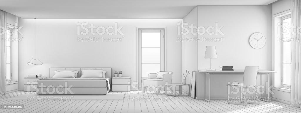 Skizze Gestaltung Von Wohn  Und Schlafzimmer Im Luxus Haus, Moderne  Interieur Des
