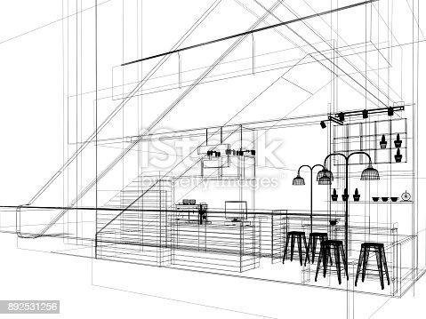 istock sketch design of coffee shop ,3d rendering 892531256