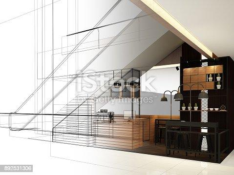istock sketch design of coffee shop ,3d rendering 892531306