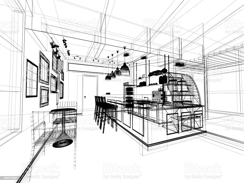 Sketch Design Of Coffee Shop 3dwire Frame Render Stock