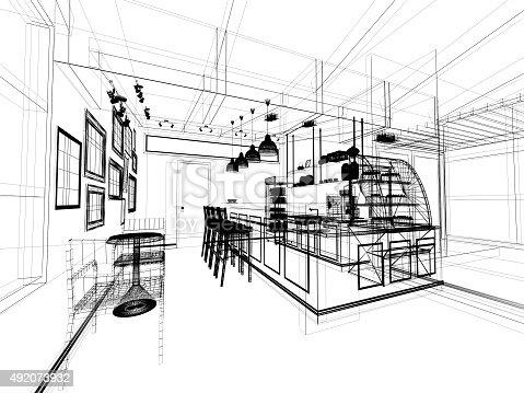 istock sketch design of coffee shop ,3dwire frame render 492073932