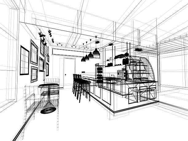 Royalty free sketch coffee drink blueprint restaurant pictures sketch design of coffee shop 3dwire frame render stock photo malvernweather Choice Image