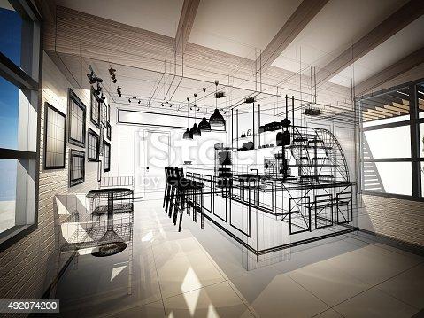 istock sketch design of coffee shop ,3dwire frame render 492074200