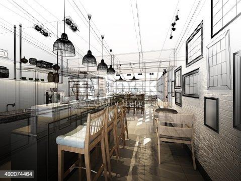istock sketch design of coffee shop ,3dwire frame render 492074464
