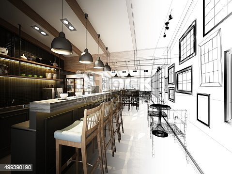 istock sketch design of coffee shop ,3dwire frame render 499390190