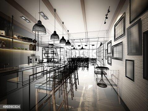 istock sketch design of coffee shop ,3dwire frame render 499390304