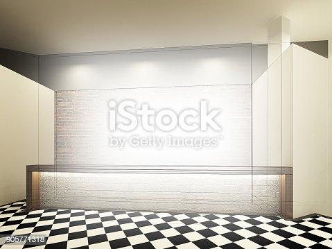 istock sketch design of counter bar ,3dwire frame render 905771318