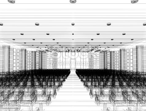 istock sketch design of interior auditorium  ,3d  render 689950940