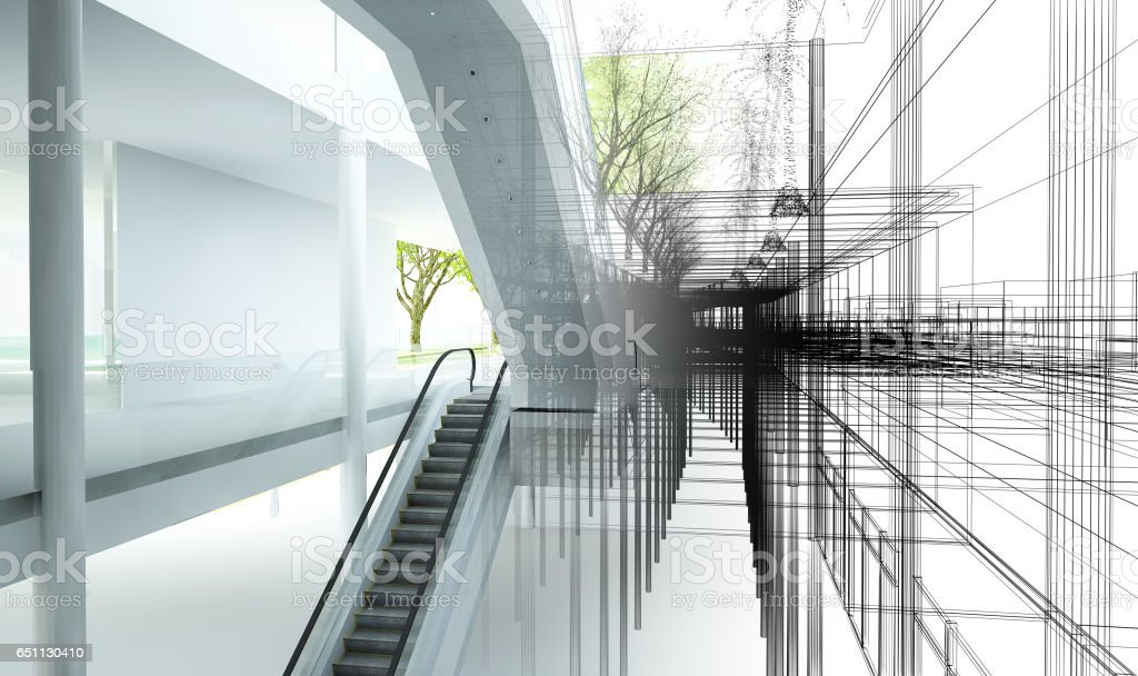 sketch design of interior hall, 3d rendering stock photo