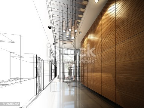istock sketch design of interior hall 528056058