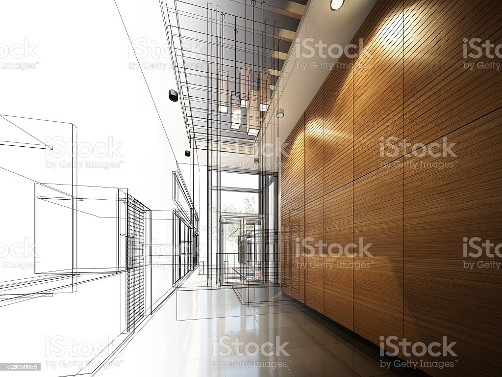 Skizze design interior hall – Foto