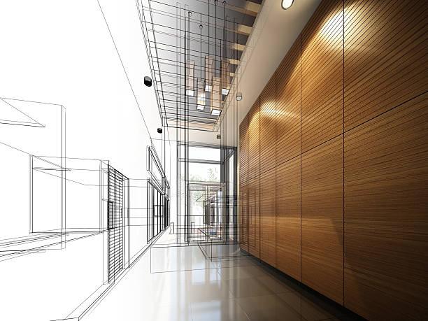 Skizze design interior hall – Foto