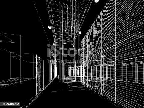 istock sketch design of interior hall 528056098