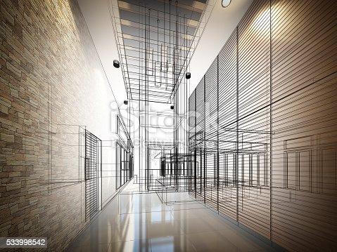 istock sketch design of interior hall 533998542