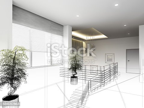 528056058istockphoto sketch design of interior hall 534052863