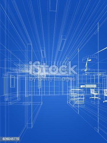 istock sketch design of interior hall 626045770