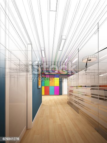 istock sketch design of interior hall 629341276
