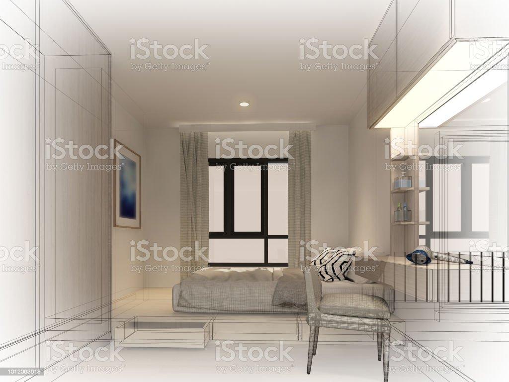 Boceto Diseño De Interior Living Comedor Render 3d Foto de stock y ...