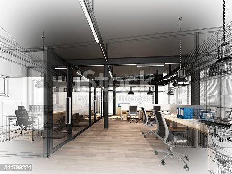 istock sketch design of interior office, 3d interior wire frame 544799224