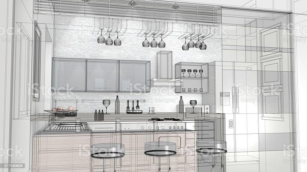 Fotografía de Boceto Diseño De Cocina 3d Render Bastidor De Alambre ...