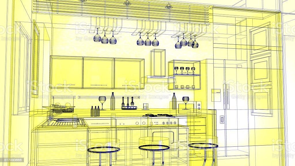 Schizzo Di Progettazione Di Cucina 3d Render Wireframe - Fotografie ...