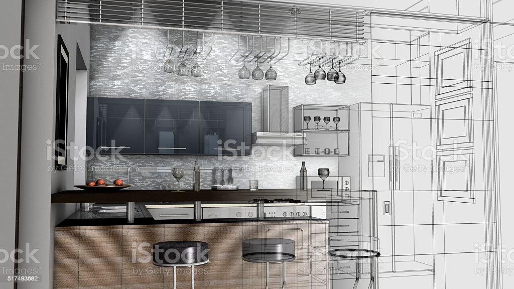 Schizzo Di Progettazione Di Cucina 3d Render Wireframe ...