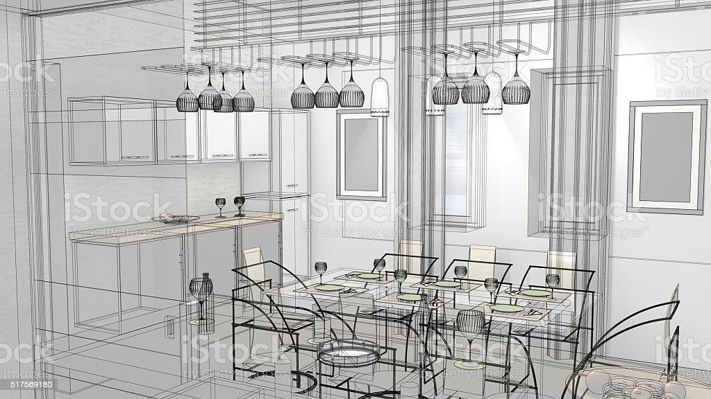 Boceto Diseño De Cocina 3d Render Bastidor De Alambre - Fotografía ...