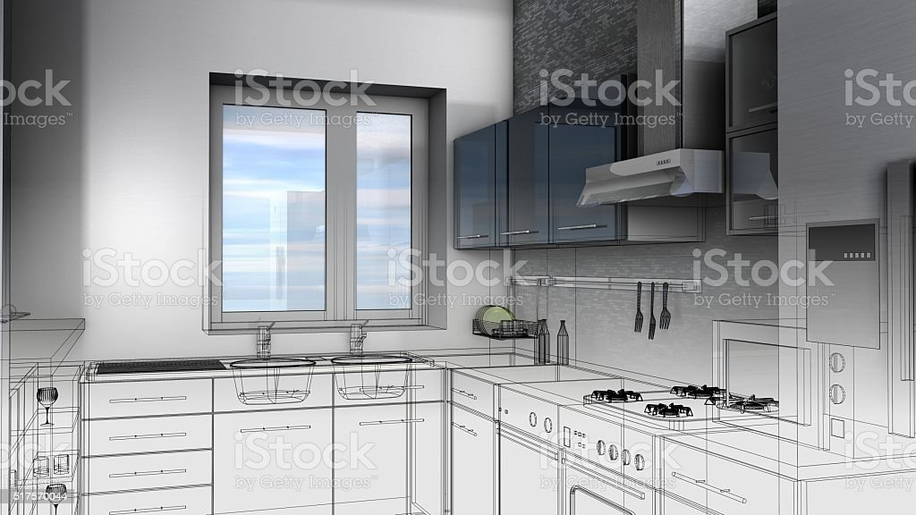 Boceto Diseño De Cocina 3d Render Bastidor De Alambre Foto de stock ...