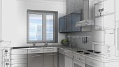 Sketch design of kitchen ,3d wire frame render