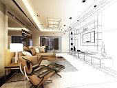 sketch design of living ,3d wire frame rendering