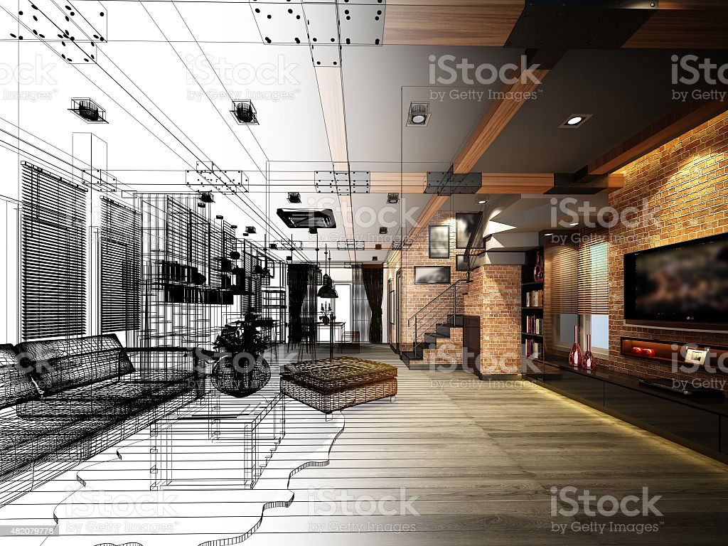 sketch design of living ,3dwire frame render stock photo