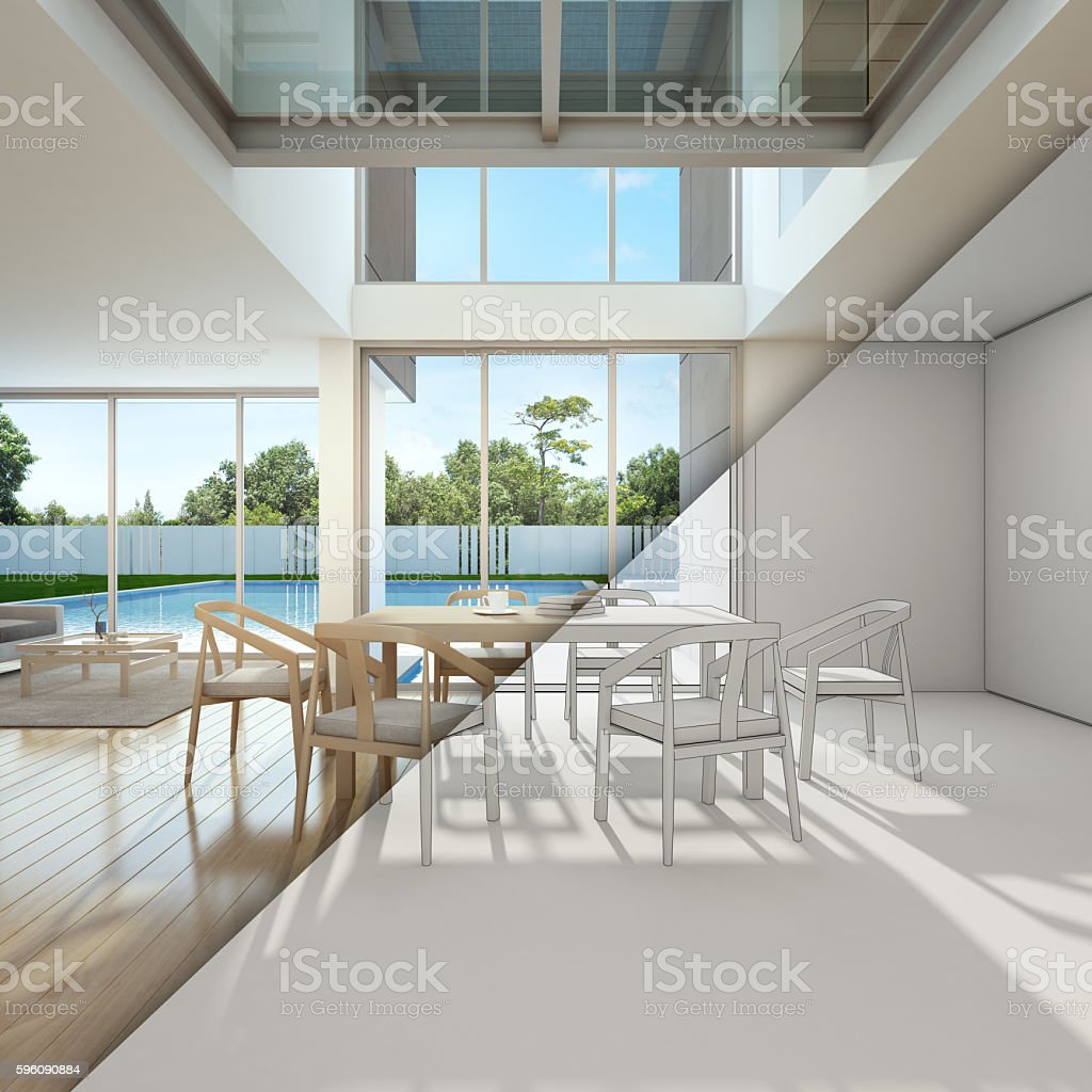 sketch design of meeting and living room in home office royalty-free stock photo