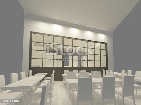 istock sketch design of resturant ,3d wire frame render 905771430