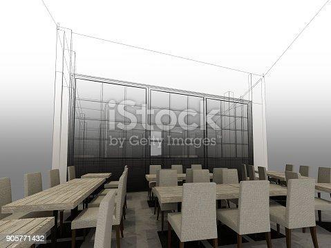 istock sketch design of resturant ,3d wire frame render 905771432