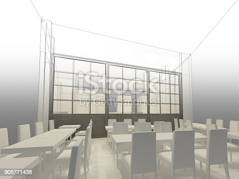 istock sketch design of resturant ,3d wire frame render 905771438
