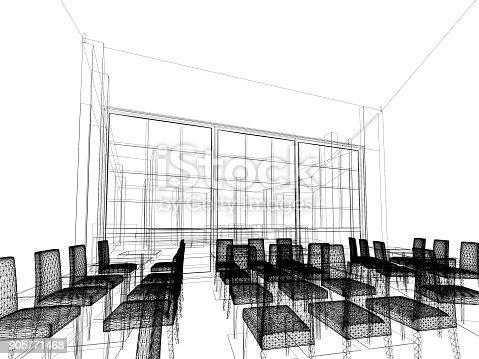 istock sketch design of resturant ,3d wire frame render 905771468