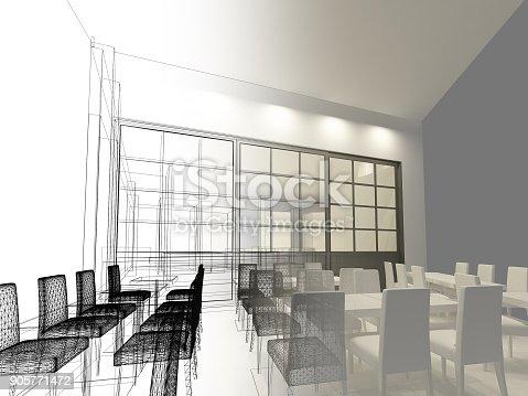 istock sketch design of resturant ,3d wire frame render 905771472