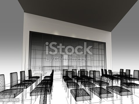 istock sketch design of resturant ,3d wire frame render 905771474